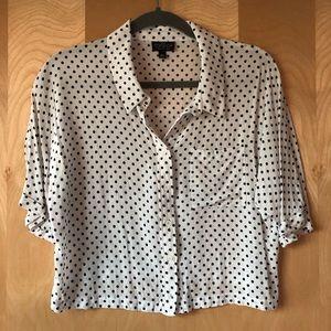 Topshop polka dot crop button down blouse